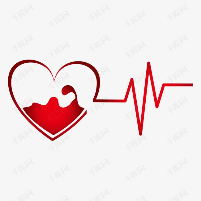 卡通慈善无偿献血爱心心电图图片