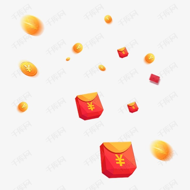 红包雨漫天飞舞红色黄色漂浮