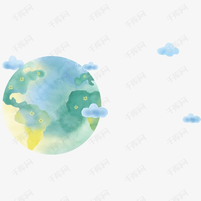 美丽水彩手绘星球素材图片免费下载 高清psd 千库网 图片编号10160285图片
