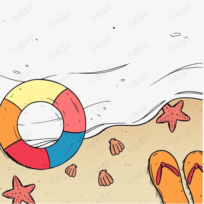 彩绘夏季大海和沙滩矢量