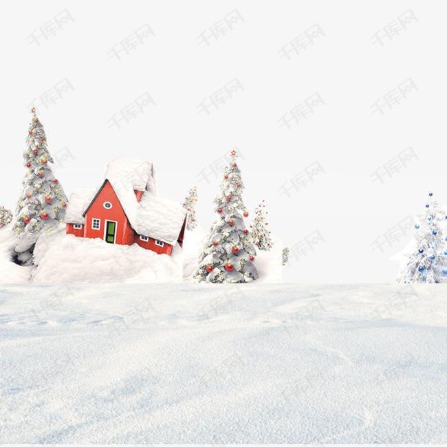 卡通手绘冬天雪景的素材免抠卡通手绘创意冬天雪景房屋雪树动漫动画