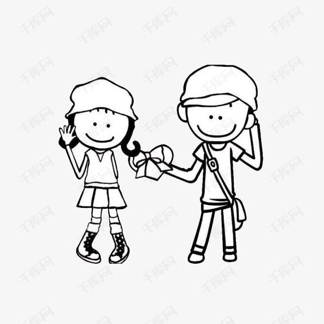 卡通情侣人物约会简笔画图案素材图片免费下载 高清png 千库网 图片编号9064348