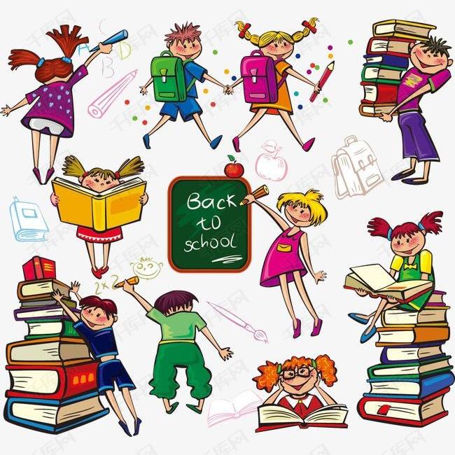 手绘小学生合集的素材免抠手绘卡通学生小学生可爱书本上课课堂开学