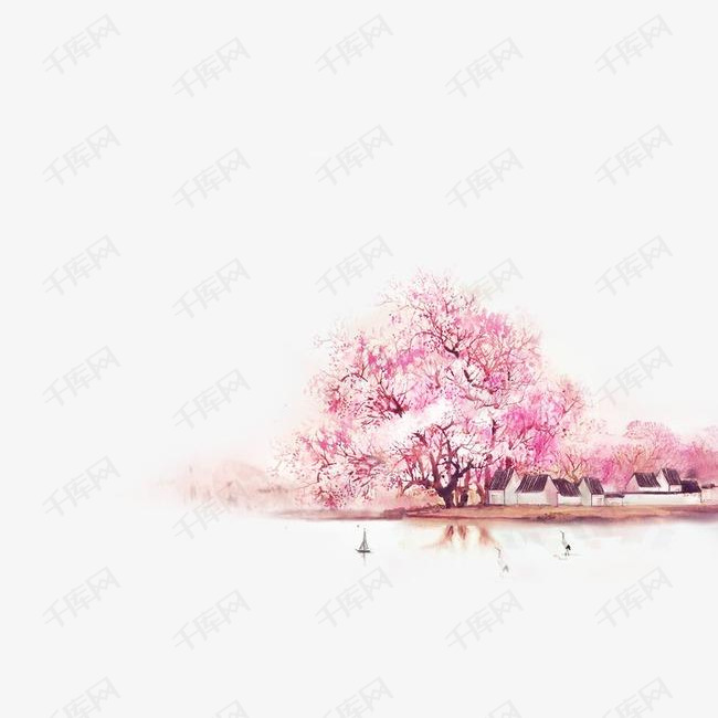 唯美古风手绘插画的素材免抠樱花树岸山水中国风彩色水墨画水彩画风