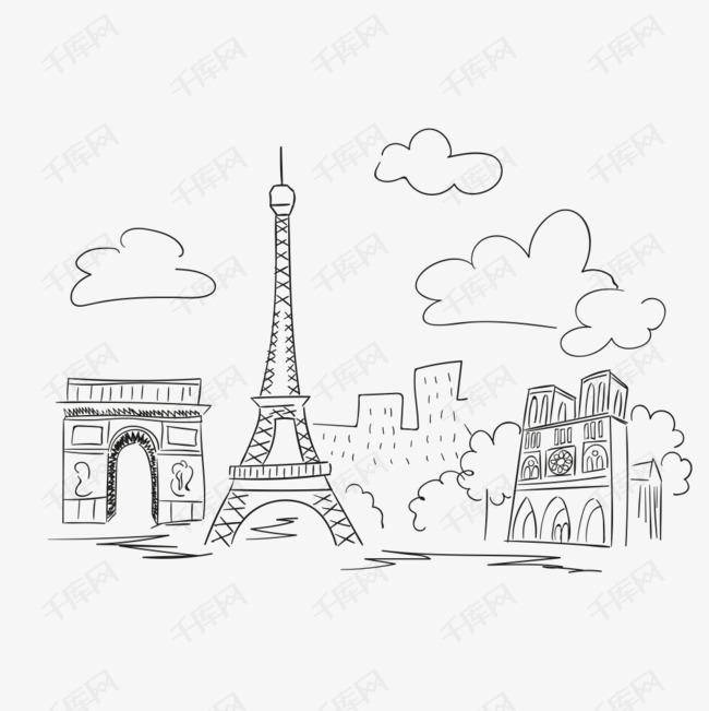 手绘巴黎景点的素材免抠线条手绘建筑绿树城市巴黎景点铁塔艾菲尔旅行简笔画艾菲尔铁塔手绘