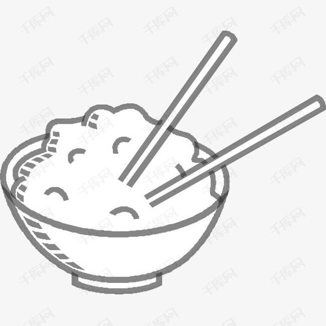 手绘一碗米饭的素材免抠一碗米饭米饭食物主食一碗米饭简笔画筷子一