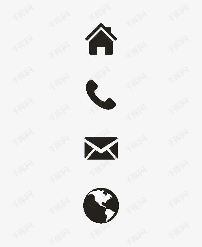 黑色住址电话图标