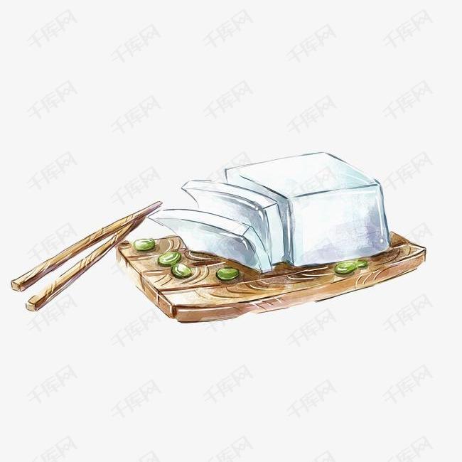 手绘白色豆腐的素材免抠豆腐白色案板食物美食简约手绘美食涂鸦吃食