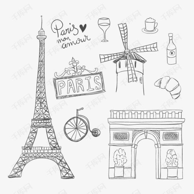 手绘巴黎著名元素素材图片免费下载 高清png 千库网 图片编号10350211