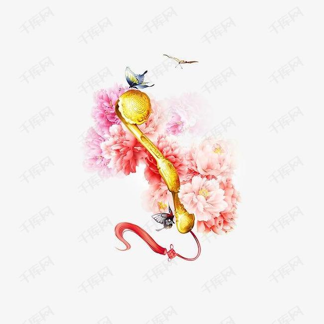 唯美古风手绘插画的素材免抠如意中国风彩色水墨画水彩画风景落花流图片