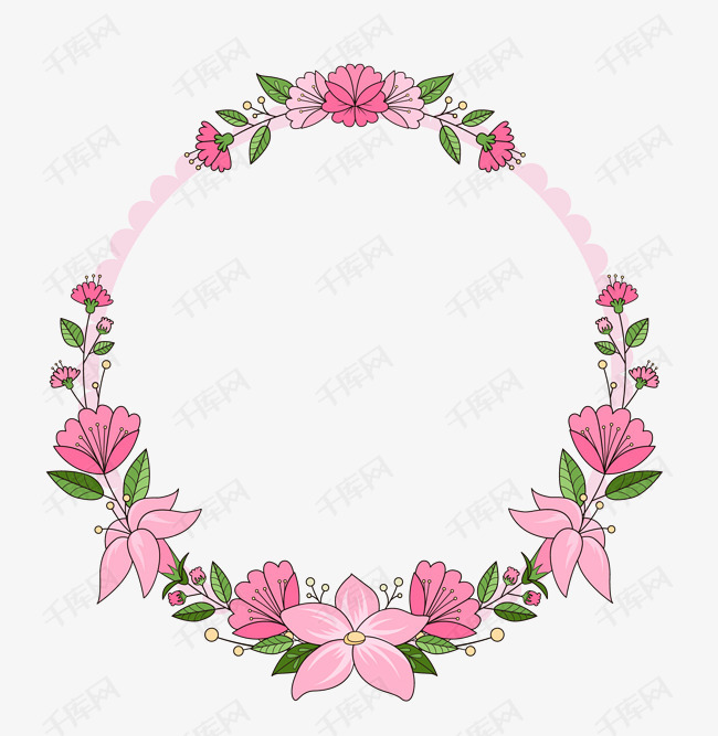 清新手绘花朵花卉边框素材图片免费下载 高清psd 千库网 图片编号10390347图片