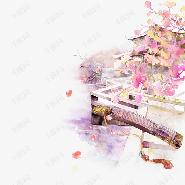 清新古风手绘落花设计素材图片免费下载 高清png 千库网 图片编号9367811