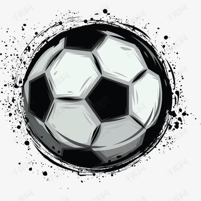 黑色水墨边框足球