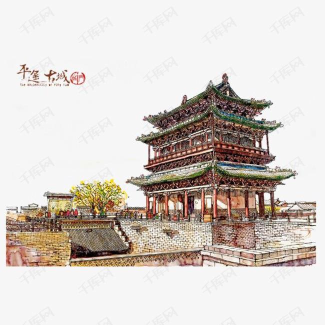 古代建筑手绘简图的素材免抠房屋建筑城门砖头城楼古代老式建筑简图