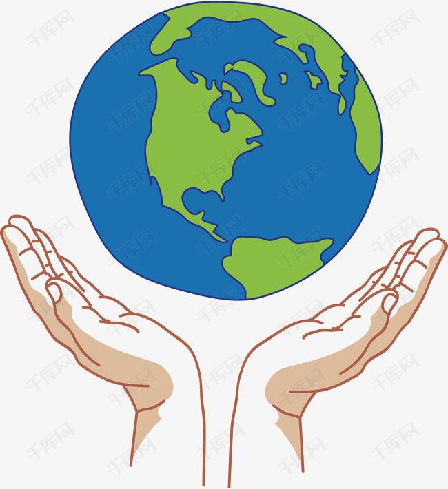 手绘风双手托起地球素材图片免费下载 高清psd 千库网 图片编号9481415
