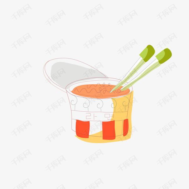 一桶泡面手绘简图的素材免抠简笔画手绘图筷子泡面桶装泡面方便面-