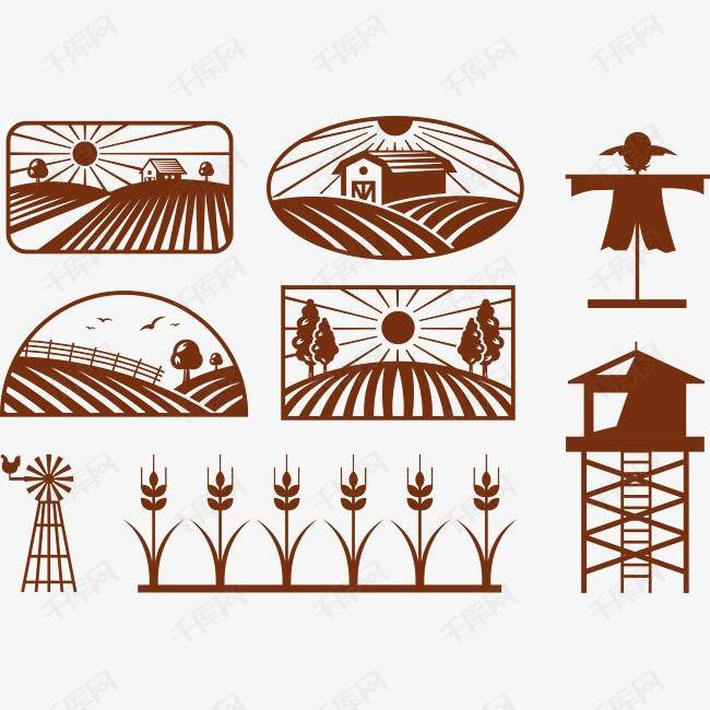 农田稻谷图标的素材免抠农田农场稻草人图标icon稻谷梁田标识麦田稻草人