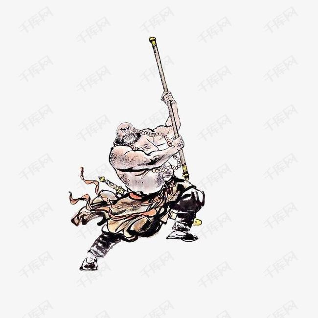 手绘中国风插画梁山好汉鲁智深素材图片免费下载 高清png 千库网 图片编号8879693