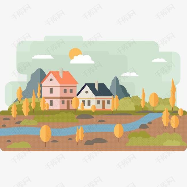 矢量手绘房子素材图片免费下载 高清装饰图案psd 千库网 图片编号4593622