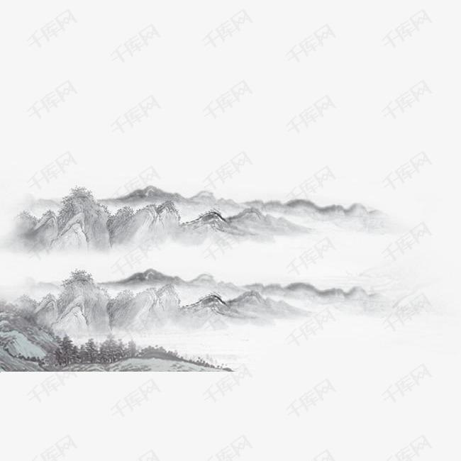 古典水墨山水画免抠图的素材免抠中国古典花纹边框素材中国古典花纹