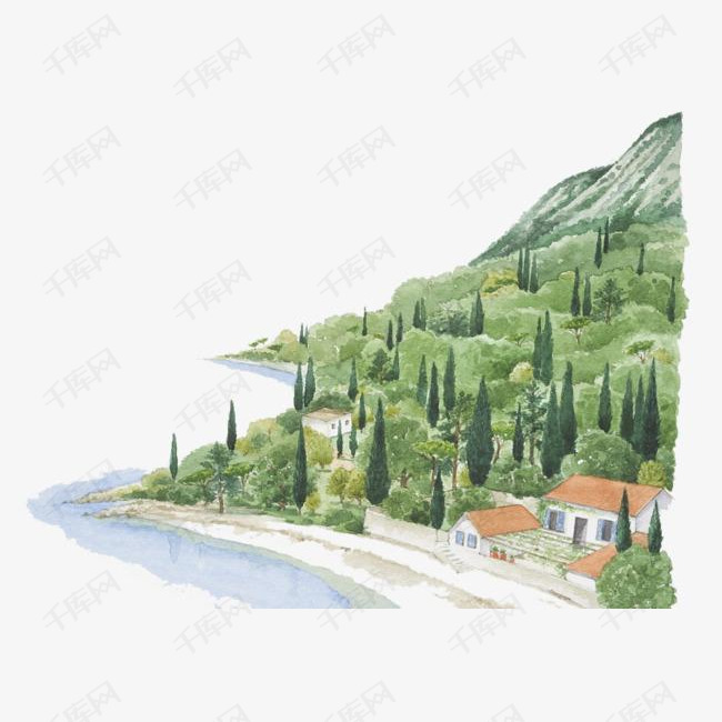 手绘彩铅插画山脉树林与村庄的素材免抠山脉手绘彩铅插画山树林村