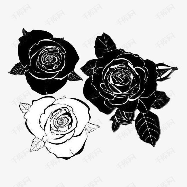 黑色手绘玫瑰花的素材免抠线条黑色玫瑰花叶子花卉线描花矢量图植物图片
