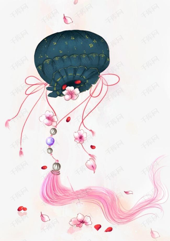 唯美古风手绘插画的素材免抠香囊锦囊中国风彩色水墨画水彩画风景落