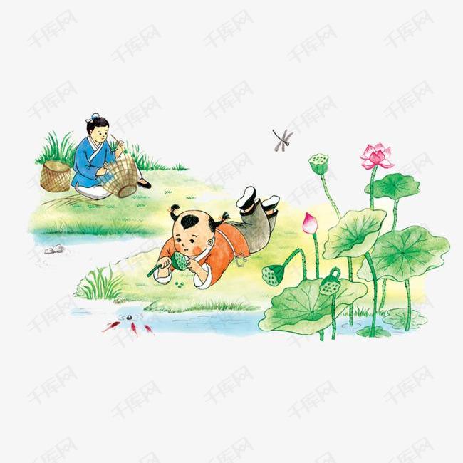 卡通装饰人物介绍海报设计古代小孩玩耍图片