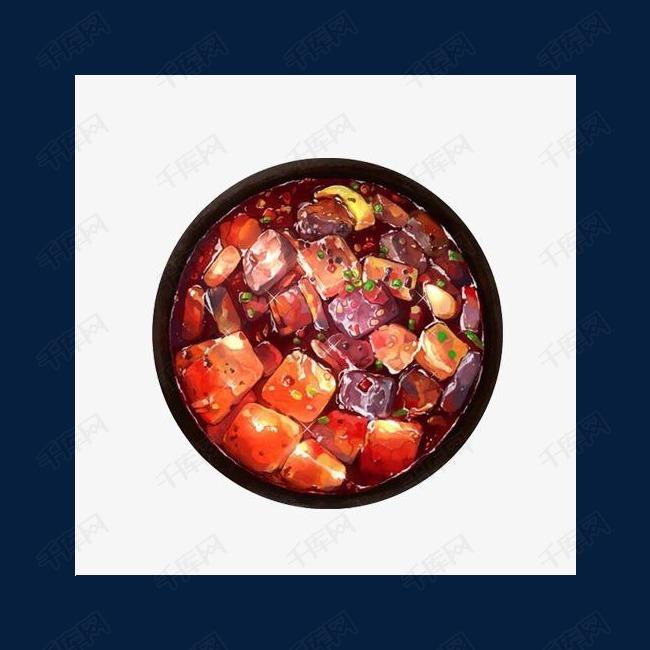 鸭血豆腐手绘画素材图片冒鸭血的素材免抠血旺鸭血旺豆腐麻辣味水彩画手绘美食冒鸭血