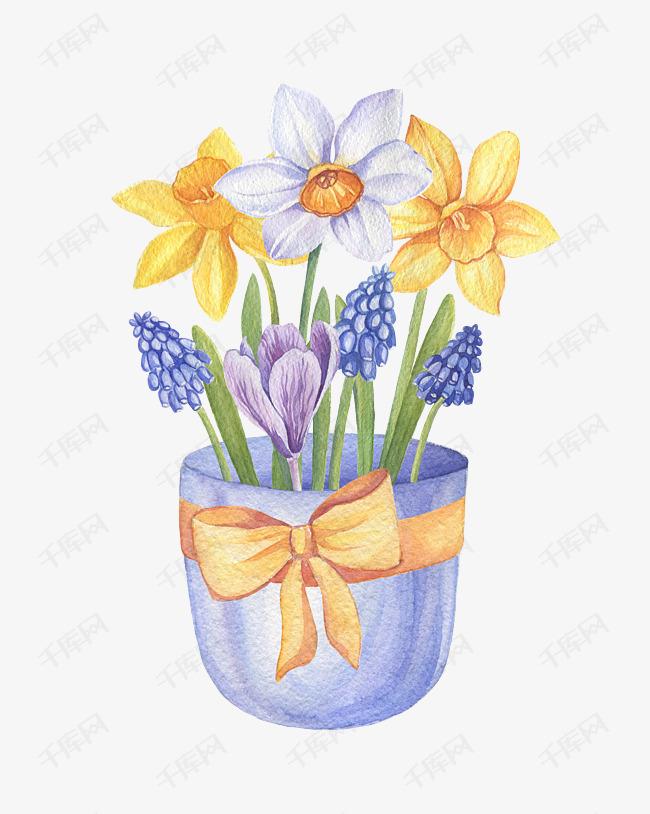 手绘盆栽花卉