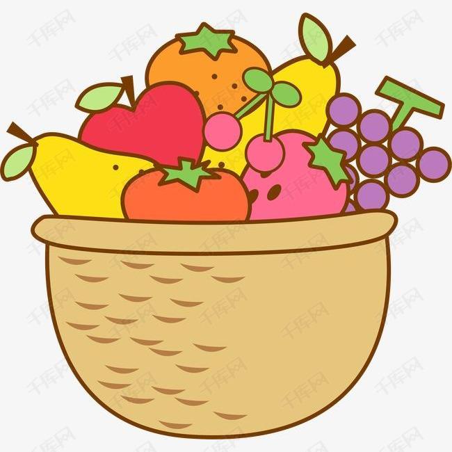 矢量水果篮素材图片免费下载 高清装饰图案psd 千库网 图片编号1858737