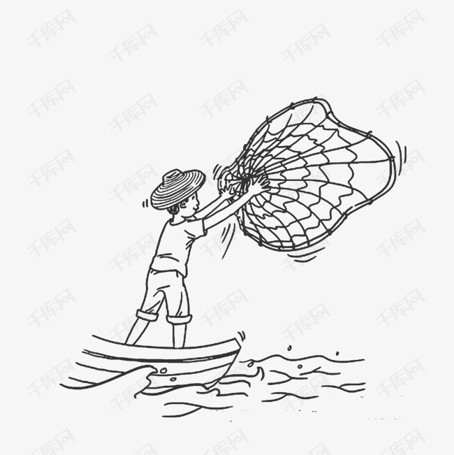 渔民简笔画素材图片免费下载 高清图片png 千库网 图片编号6995994