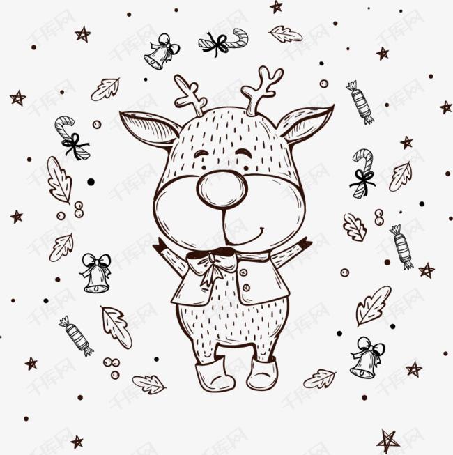 矢量铅笔画小鹿圣诞素材图片免费下载 高清卡通手绘psd 千库网 图片编号5980849