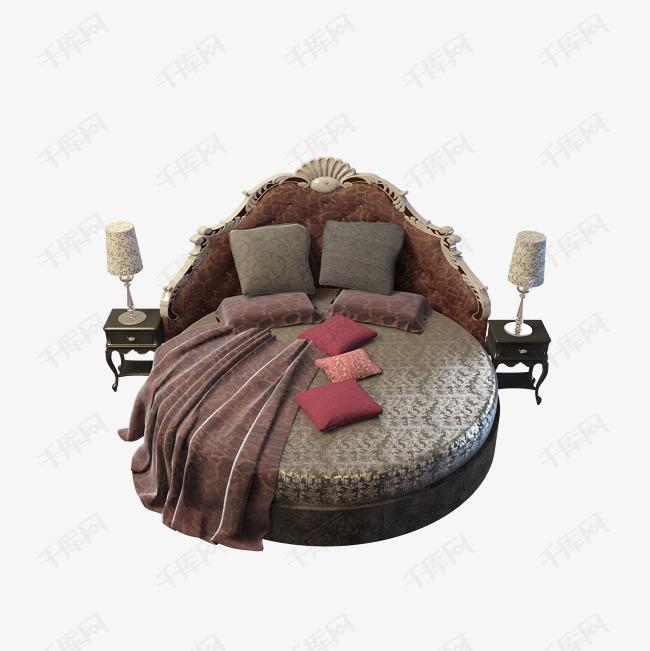 棕色时尚欧式圆床
