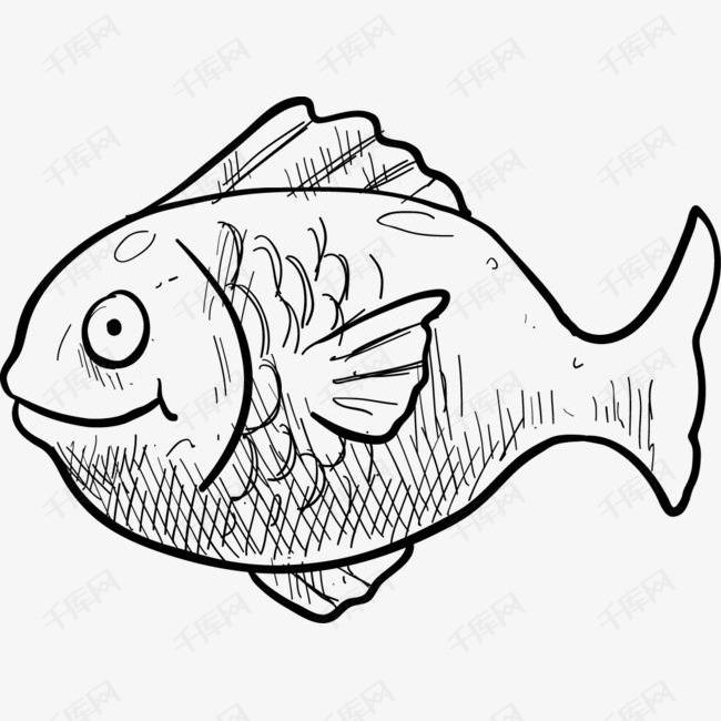 卡通手绘鱼的素材免抠卡通手绘简笔画插画鱼鱼类动物装饰