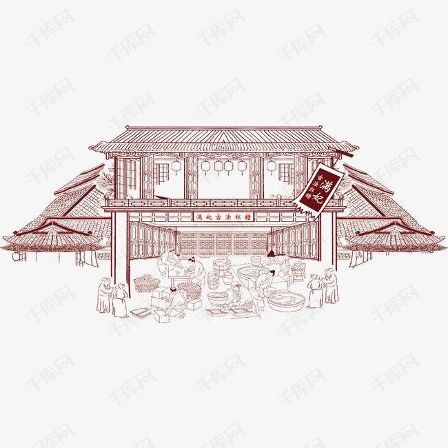 手绘古代建筑的素材免抠房子城市建筑高楼城镇都市地产古代建筑-手