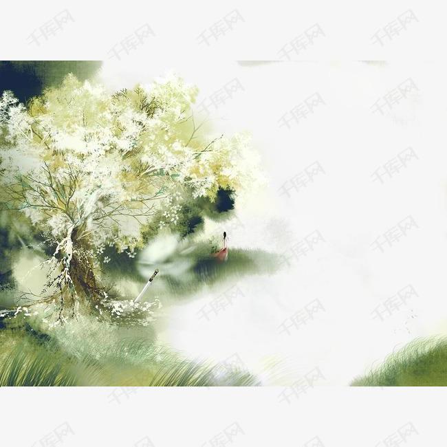 唯美古风手绘插画的素材免抠唯美风景中国风彩色水墨画水彩画风景落