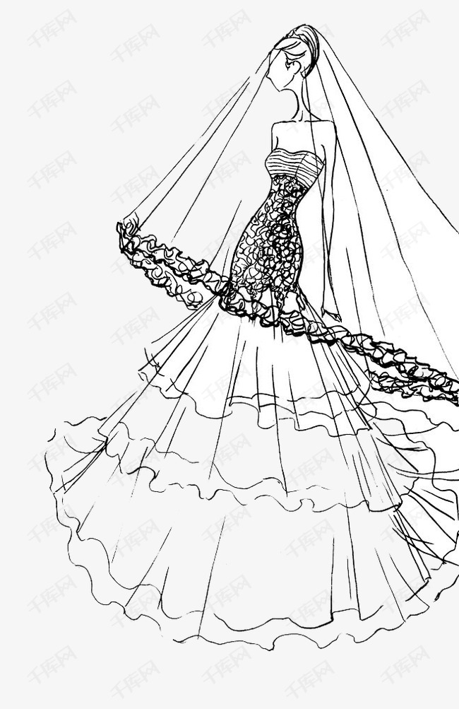 手绘婚纱女素材图片免费下载 高清卡通手绘png 千库网 图片编号3695047