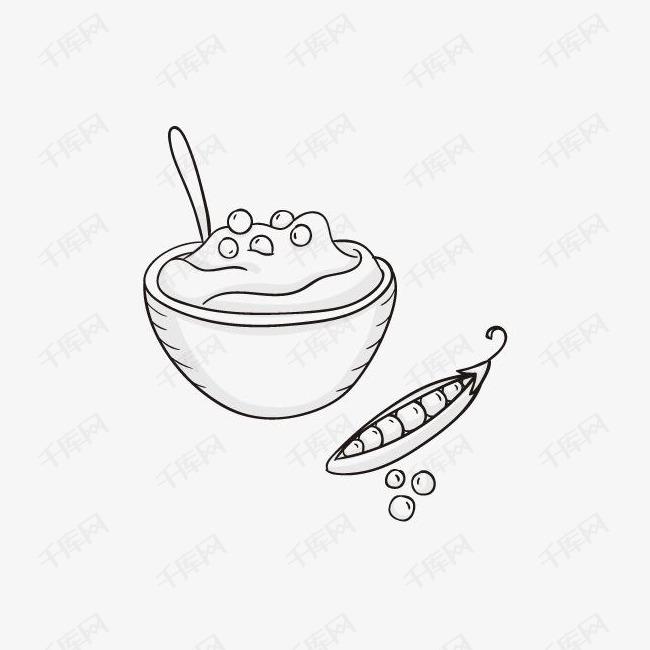 手绘简笔画饭饭碗豌豆素材图片免费下载 高清png 千库网 图片编号8967193