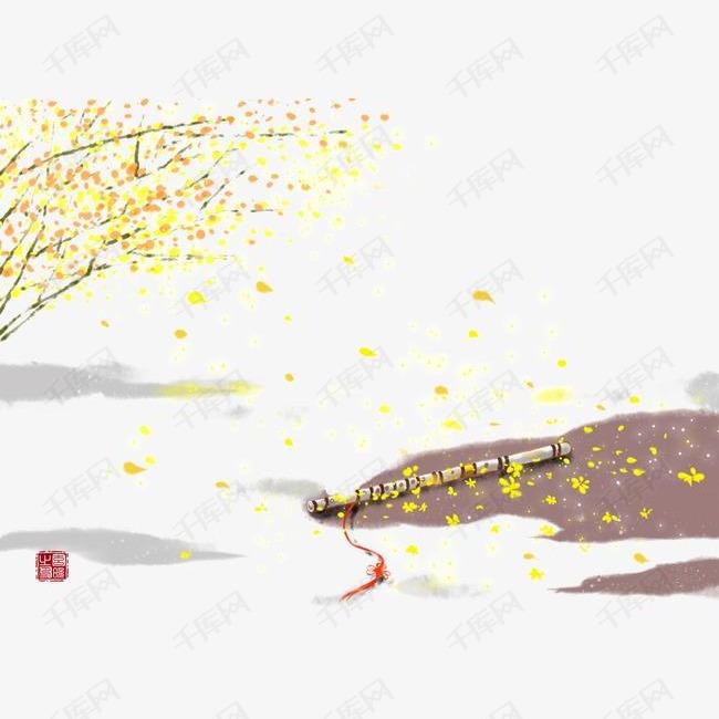 唯美古风手绘插画的素材免抠竖笛中国风彩色水墨画水彩画风景落花流