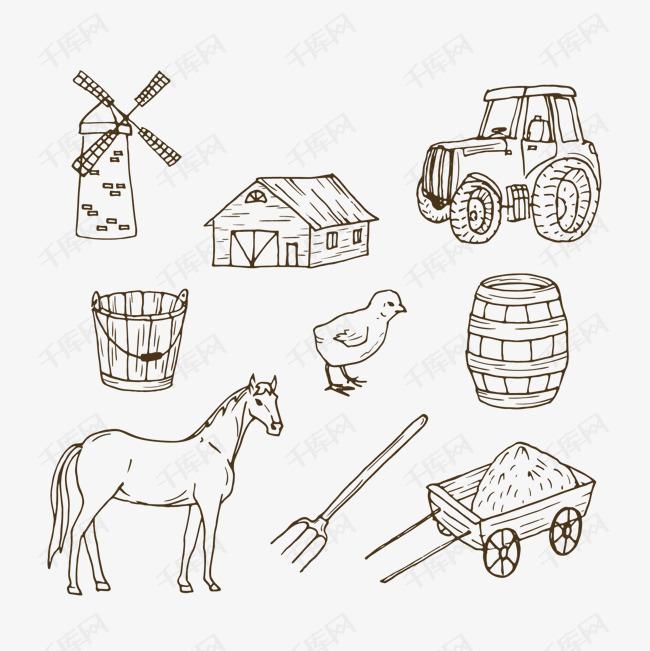手绘简约线条农场手账的素材免抠线条汽车小马房子手绘简约线条农场风车小鸡木桶手账手帐素材图片