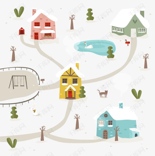 可爱雪中的圣诞小城矢量图的素材免抠雪中小城下雪天雪地小镇背景装饰卡通房子建筑物