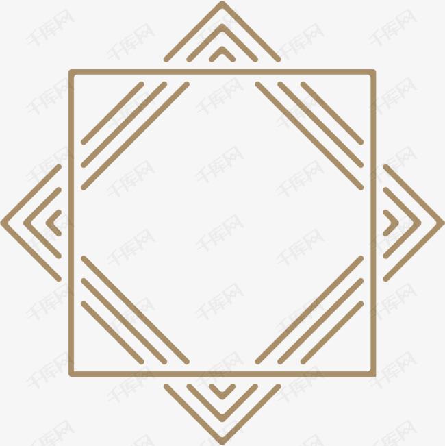 手绘黄色边框的素材免抠手绘方块方框简约黄色小清新交错边框