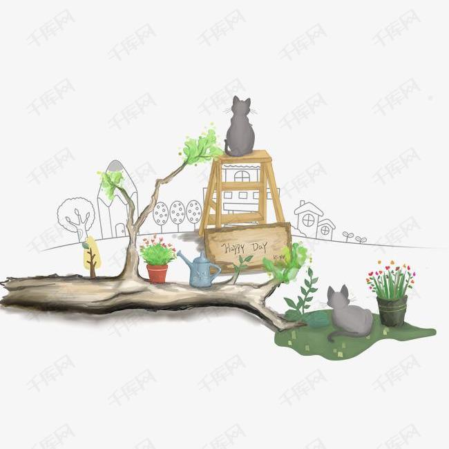 卡通手绘小清新植物插画的素材免抠卡通手绘小清新植物插画猫咪治愈