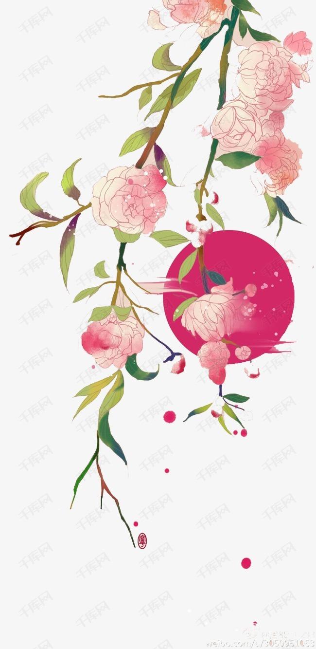 手绘古风鲜花素材图片免费下载 高清卡通手绘png 千库网 图片编号4436188图片