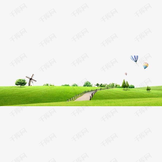 卡通公园背景图的素材免抠草地鲜花小路风车热气球psd素材卡通背景轮播素材