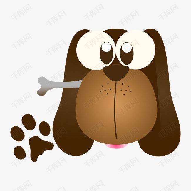 吃骨头的小狗卡通图的素材免抠卡通可爱的骨头食物小狗动物小狗脚印