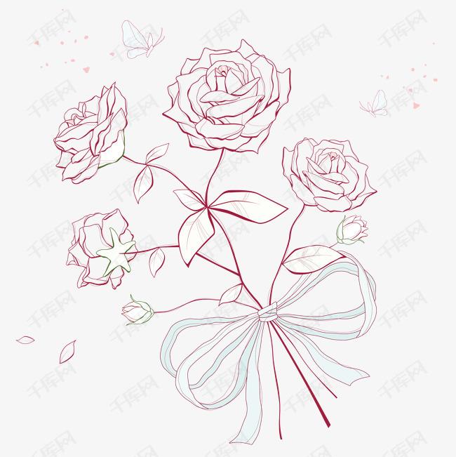 手绘花卉的素材免抠手绘花卉线描花卉底图装饰图案漂亮花卉设计底图图片