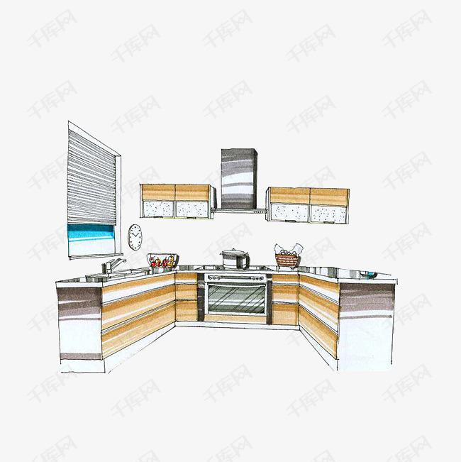 简笔彩绘厨房素材图片免费下载 高清psd 千库网 图片编号9325522