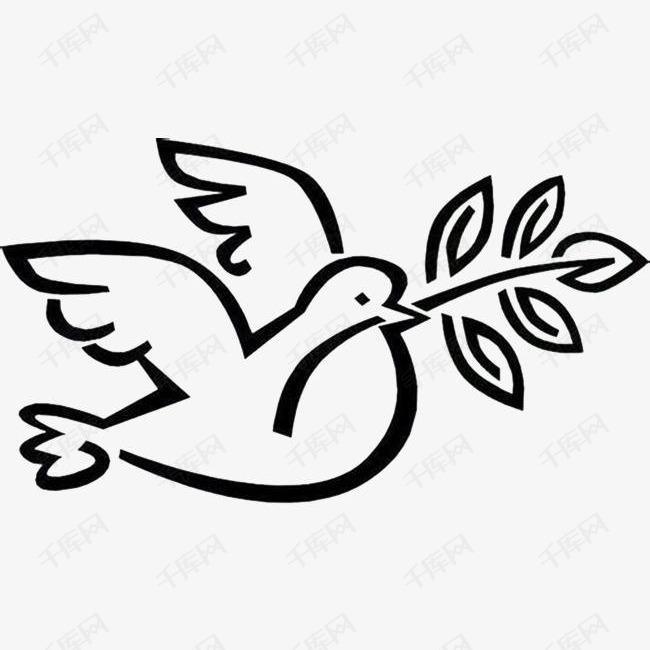 橄榄枝和平鸽手绘素材图片免费下载 高清卡通手绘png 千库网 图片编号6982085